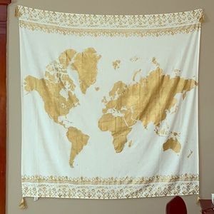 Gold World Map Tapestry